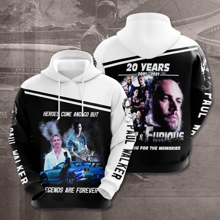 Paul Walker 20 Years Legend Are Forever 3D All Over Print Hoodie