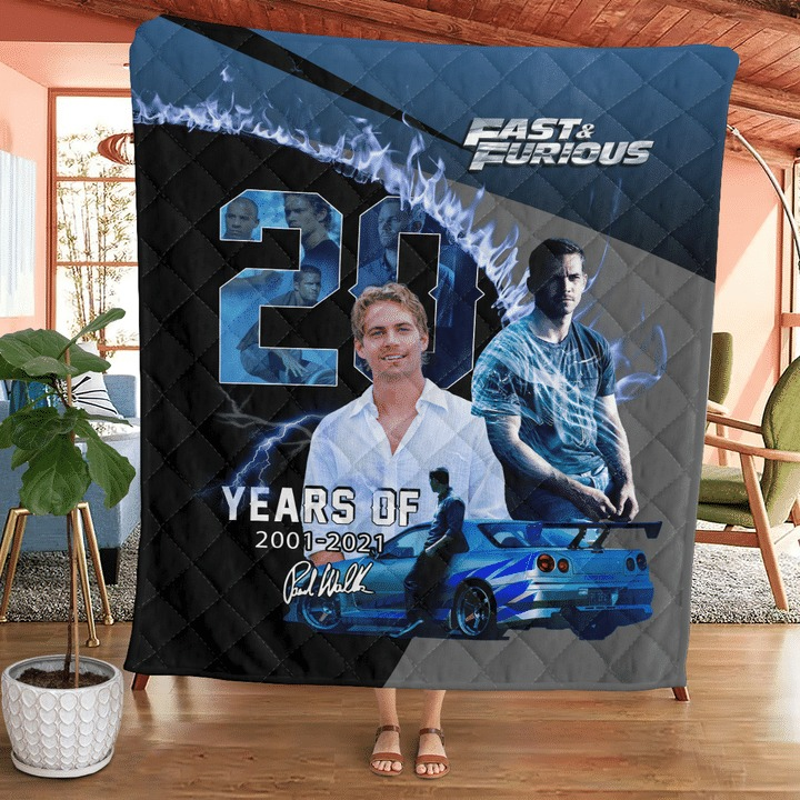 Paul Walker Fast And Furious 20 Years Of 2001 2021 Quilt Blanket - Hothot 100921