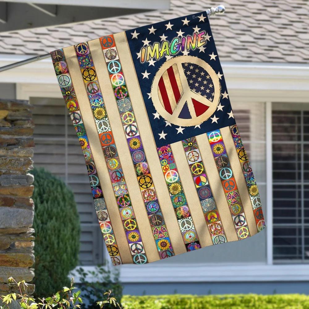 Peace Sign Hippie House Flag Garden Flag - Hothot 030921