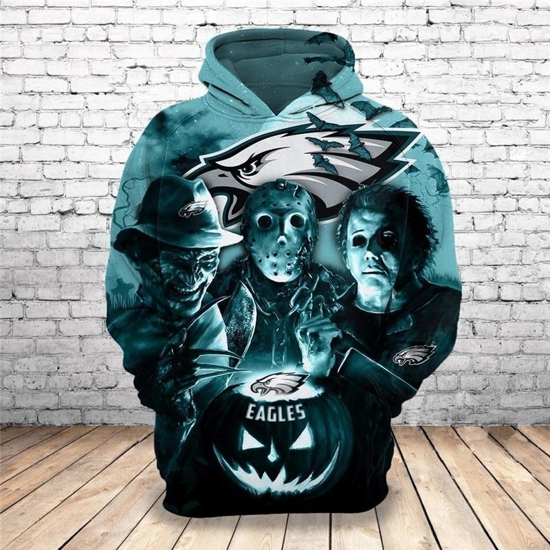 [Hot Trend] Philadelphia Eagles Halloween Horror Night 3D Pullover Hoodie - Hothot 050921
