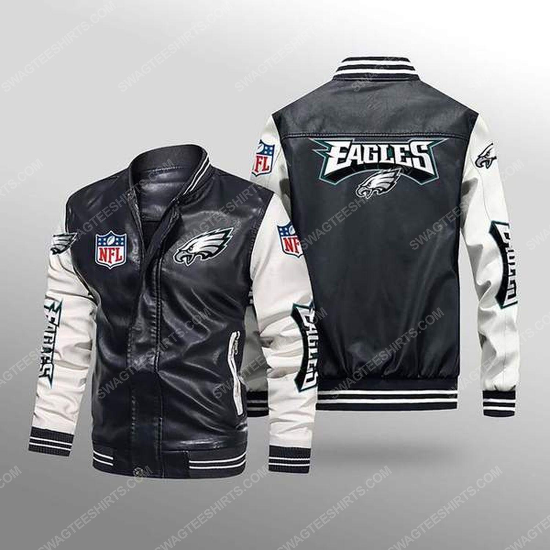 Philadelphia eagles all over print leather bomber jacket - white