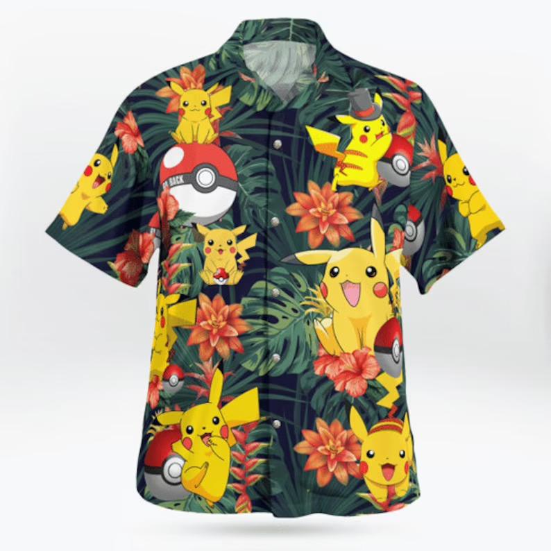 Pikachu Pokemon Ball Hawaiian Shirt