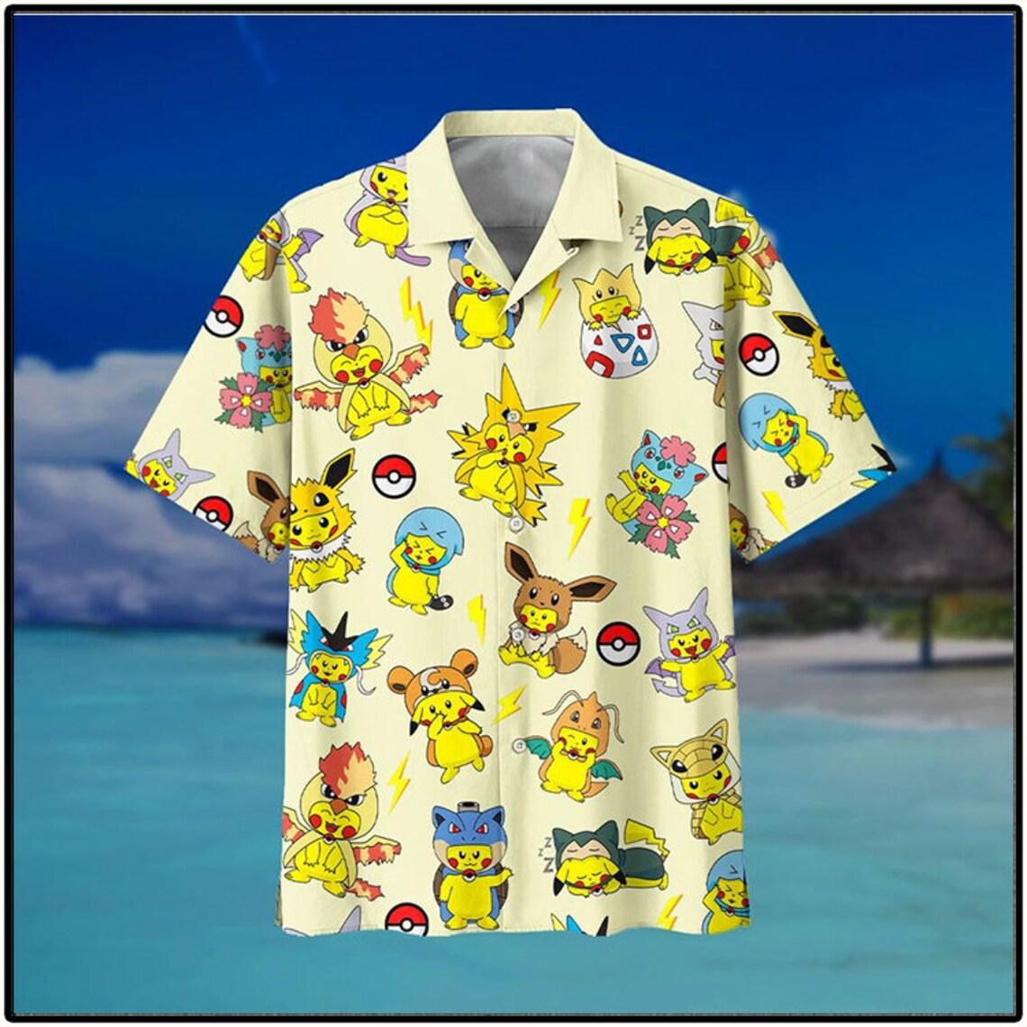 Pikachu Pokemon Fashion Cute Hawaiian Shirt