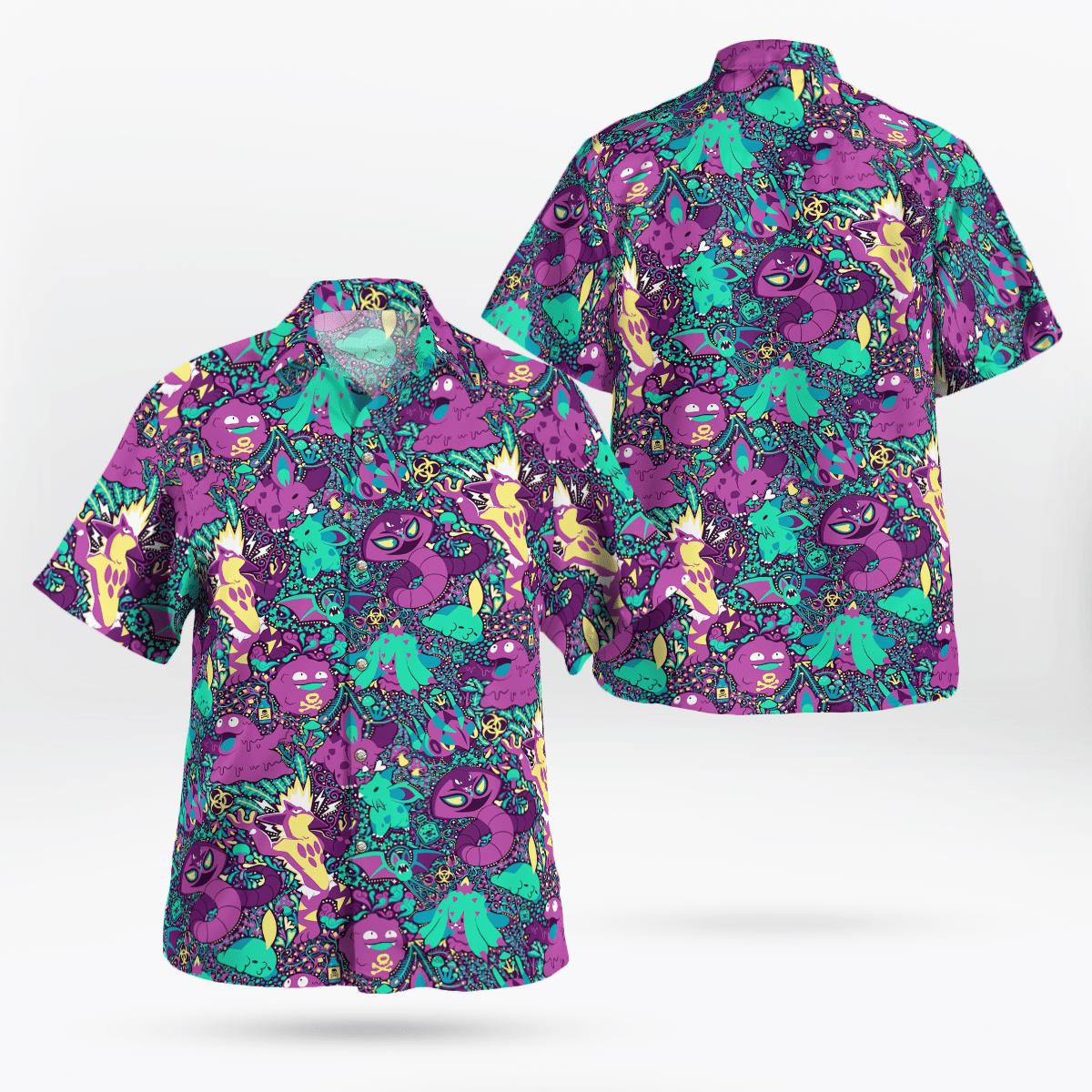 Poison pokémon hawaiian shirt