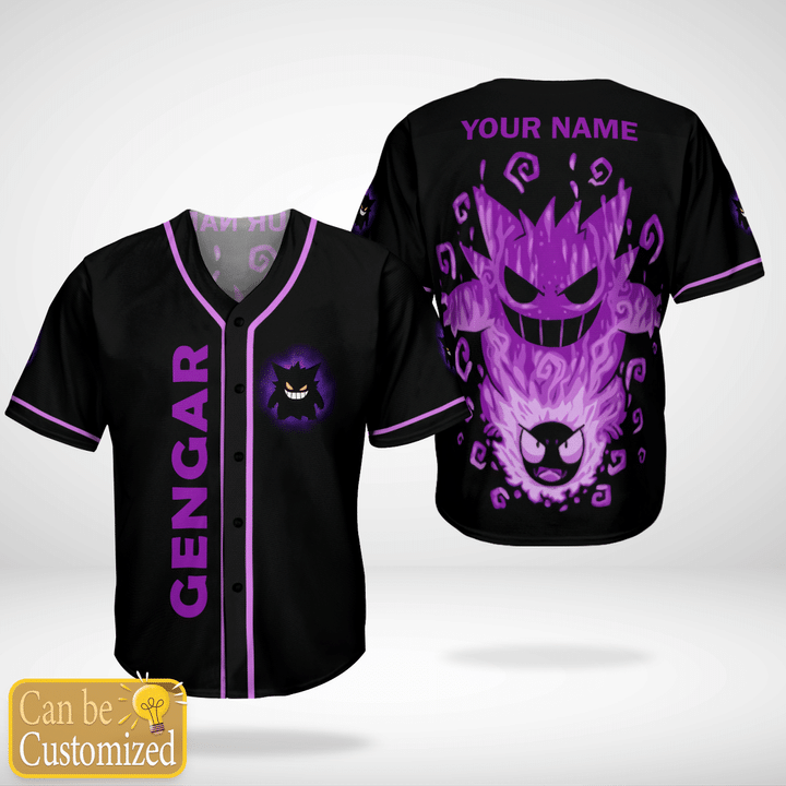 Pokemon Gengar Custom Name Baseball Jersey Shirt - LIMITED EDITION