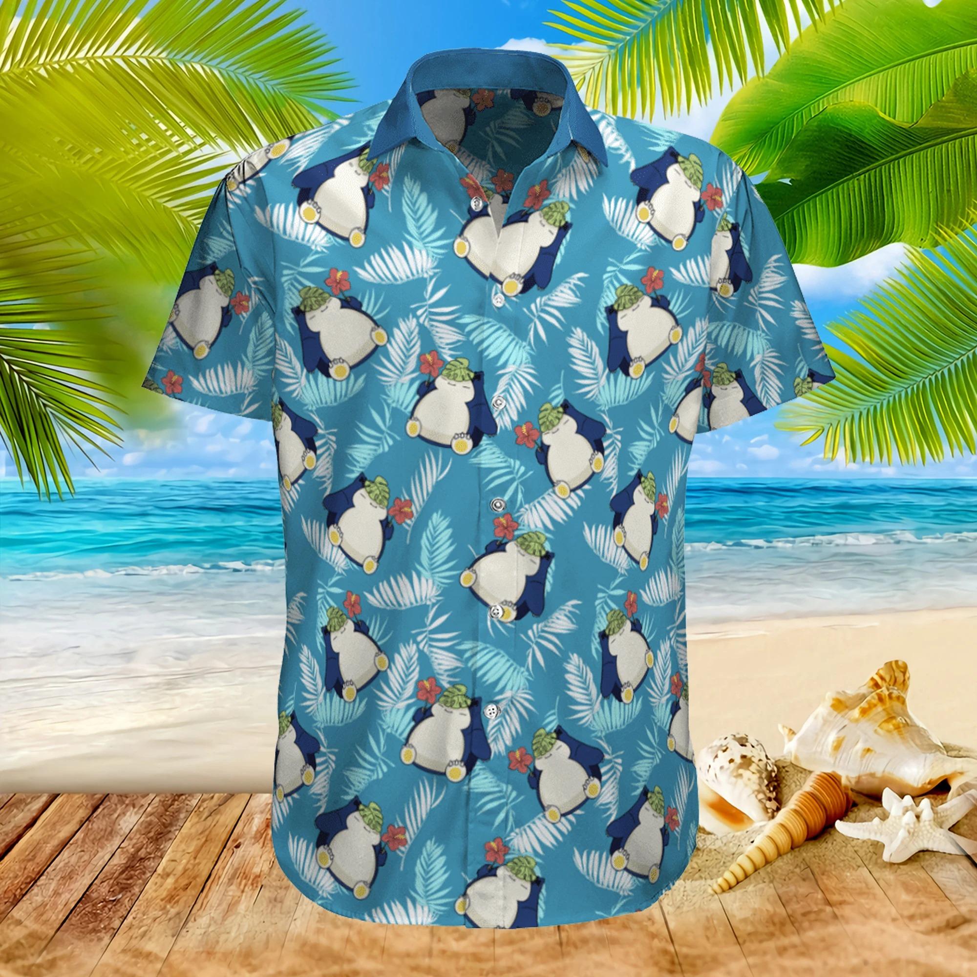 Pokemon Snorlax tropical beach hawaiian shirt