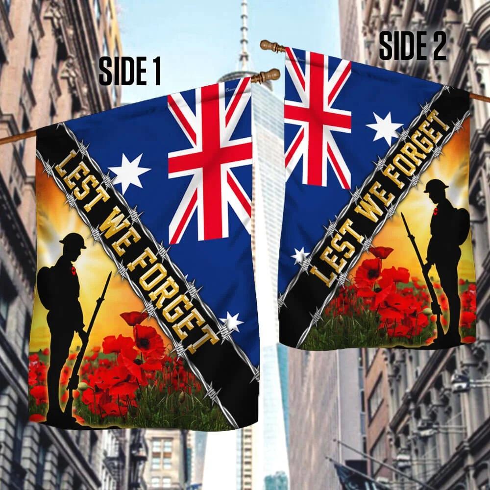 Remembrance Day Flag Poppy Lest We Forget Australia Veteran Flag