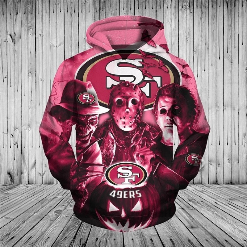 [Hot Trend] San Francisco 49ers Halloween Horror Night 3D Pullover Hoodie - Hothot 050921
