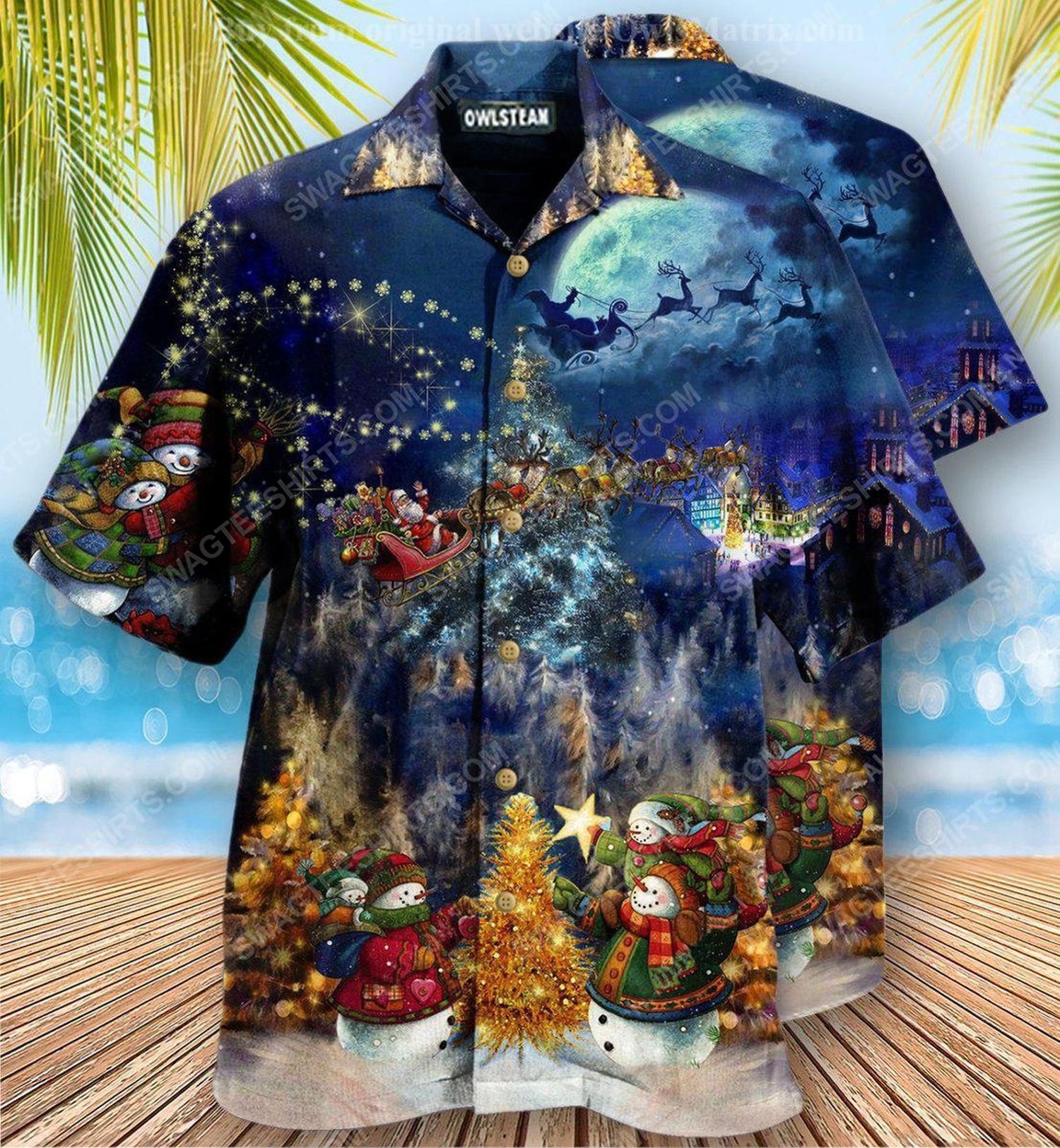Santa claus in christmas night full print hawaiian shirt 1 - Copy (2)