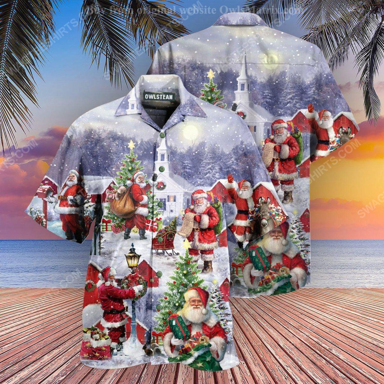 Santa claus is coming town in christmas night full print hawaiian shirt 1 - Copy (2)