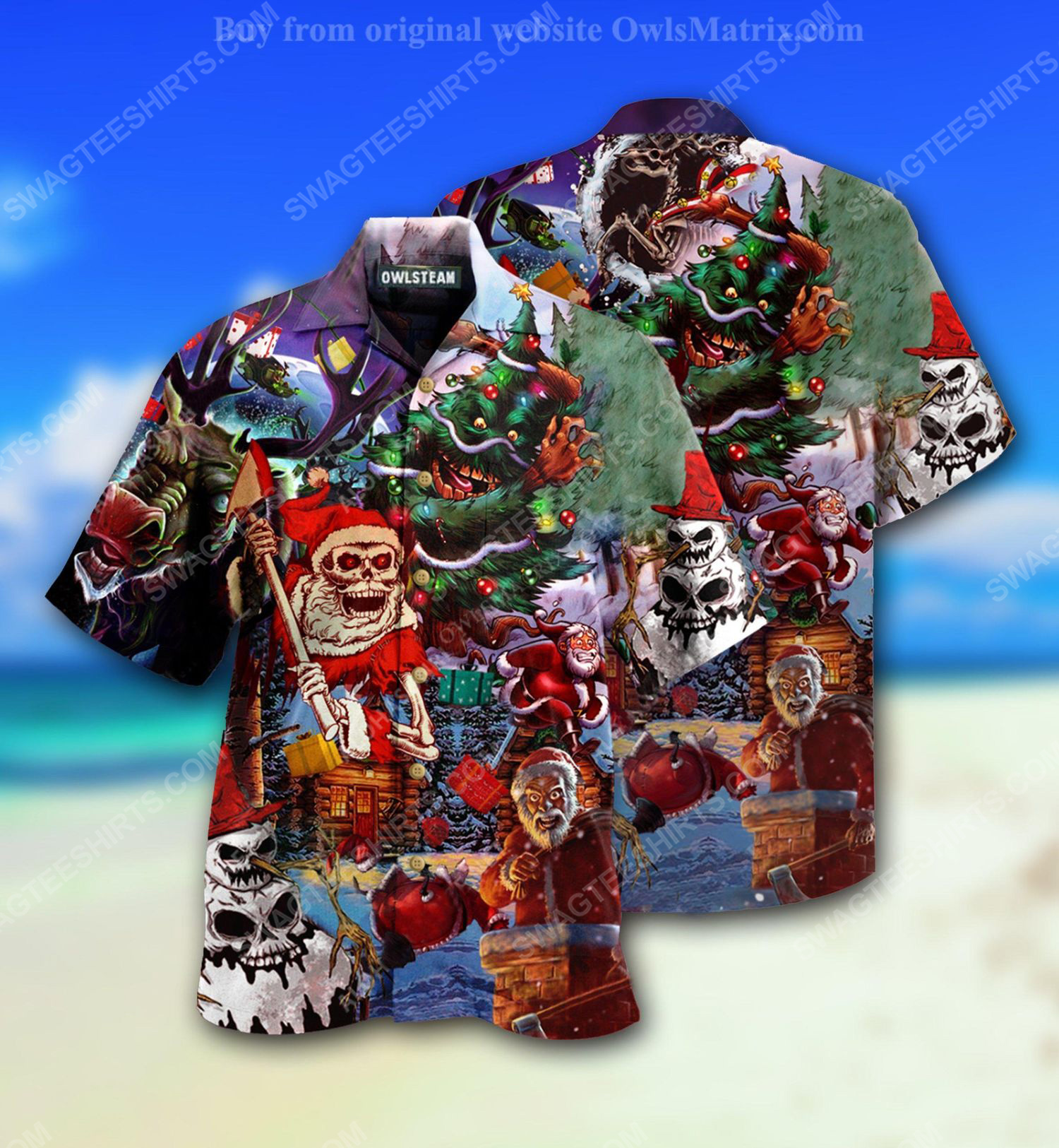 Santa skull and scary christmas full print hawaiian shirt 1 - Copy (2)