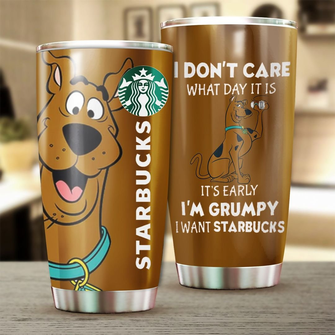 Scooby Doo Starbucks Coffee I Dont Care What Day It Is Tumbler - LIMITED EDITION