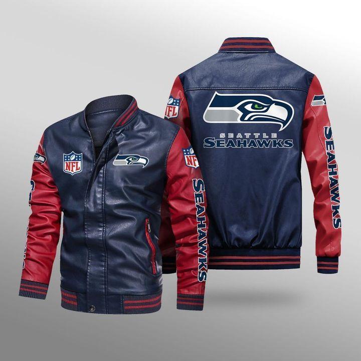 Seattle Seahawks Leather Bomber Jacket - LIMITED EDITION