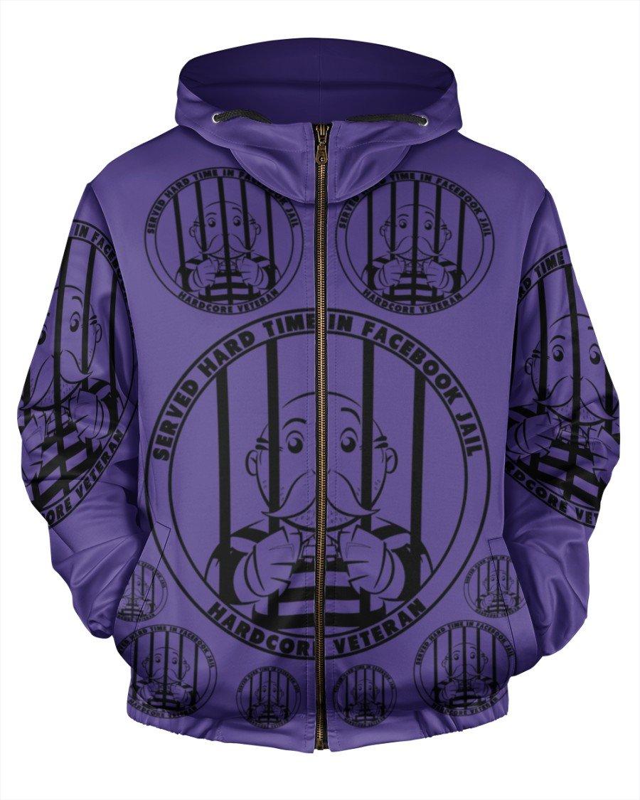 Served hard time in facebook jail hardcore veteran hoodie - LIMITED EDITION