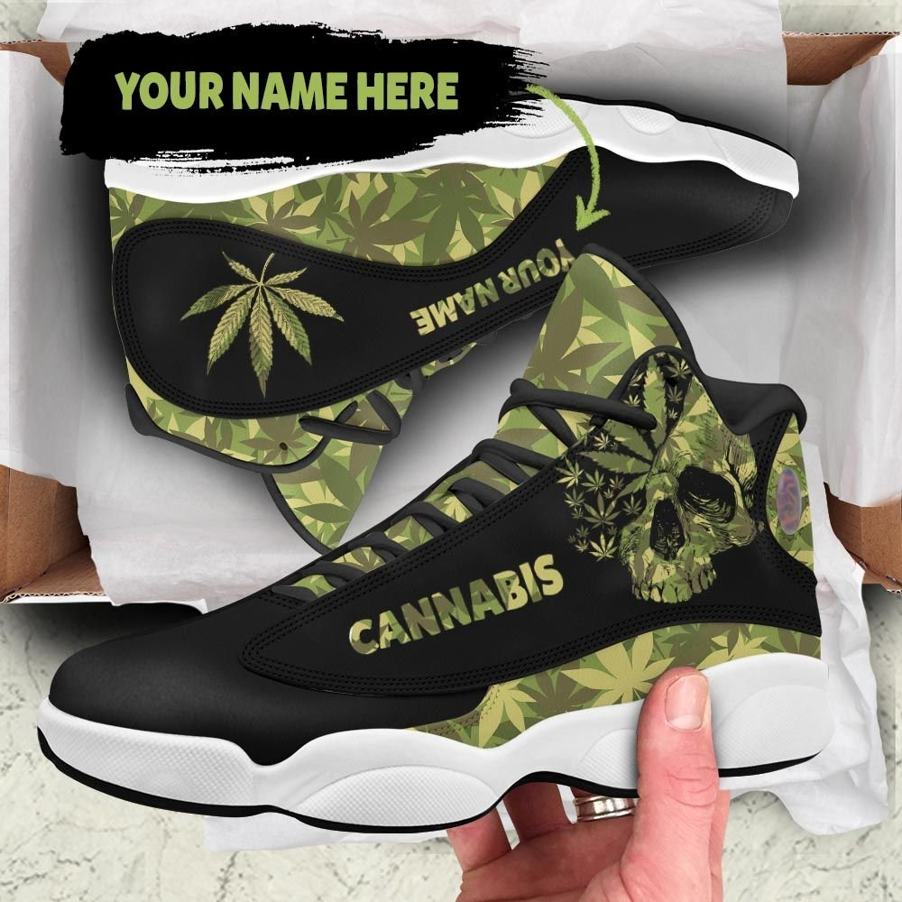 Skull Camo Cannabis Custom Name Air Jordan 13 Sneakers - LIMITED EDTION