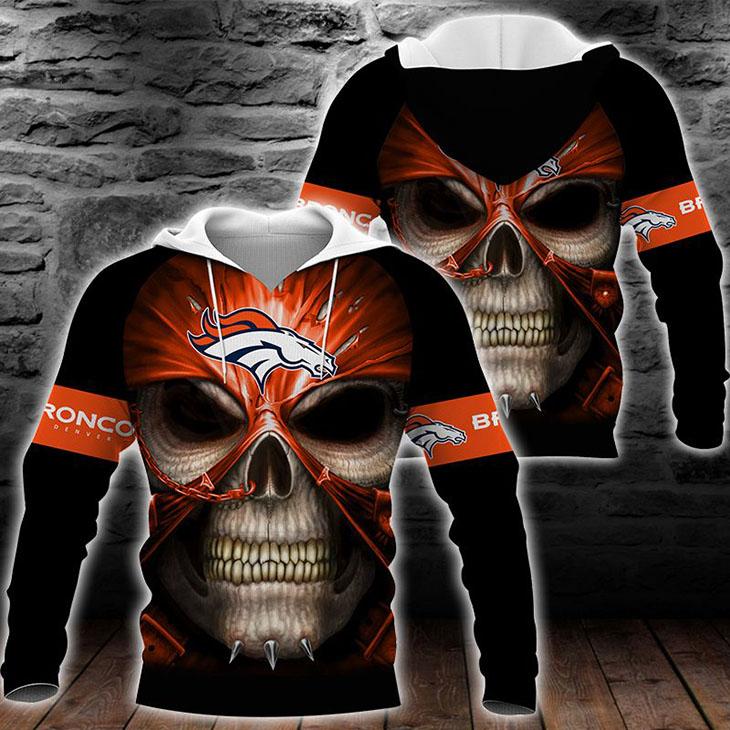 Skull Denver Broncos Logo 3D Hoodie - LIMITED EDITION