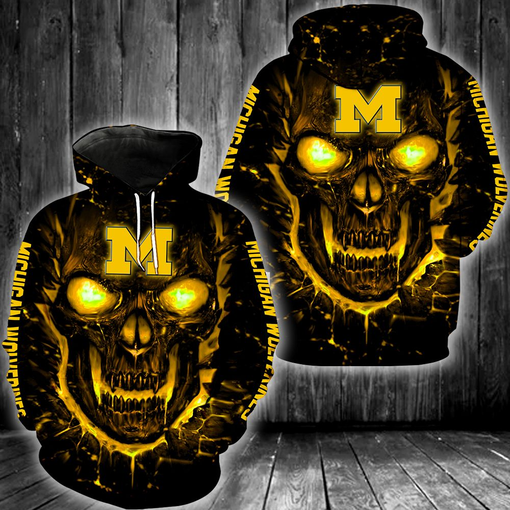 Skull Michigan Wolverines 3d all over print hoodie - LIMITED EDITION