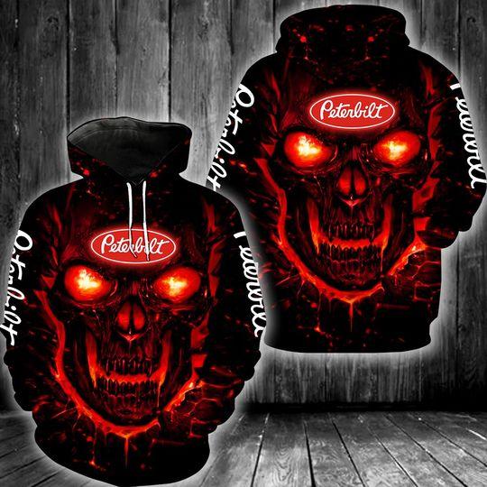 Skull Peterbilt 3d all over print hoodie