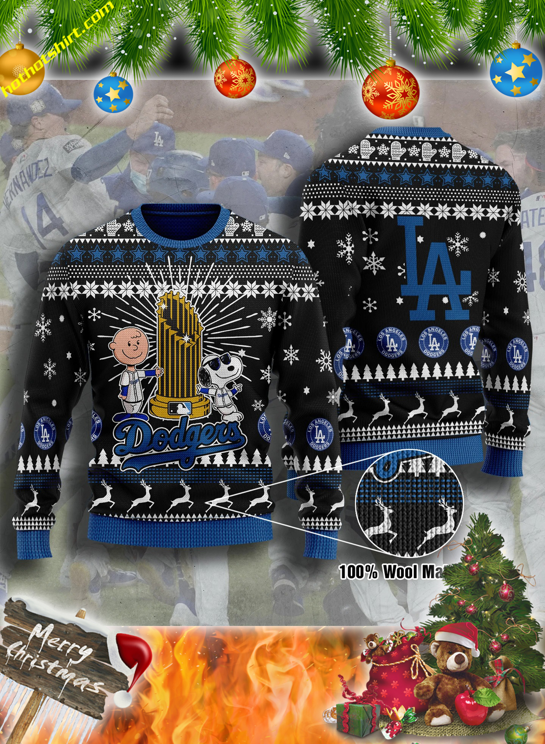Snoopy and charlie brown LA dodgers christmas sweater