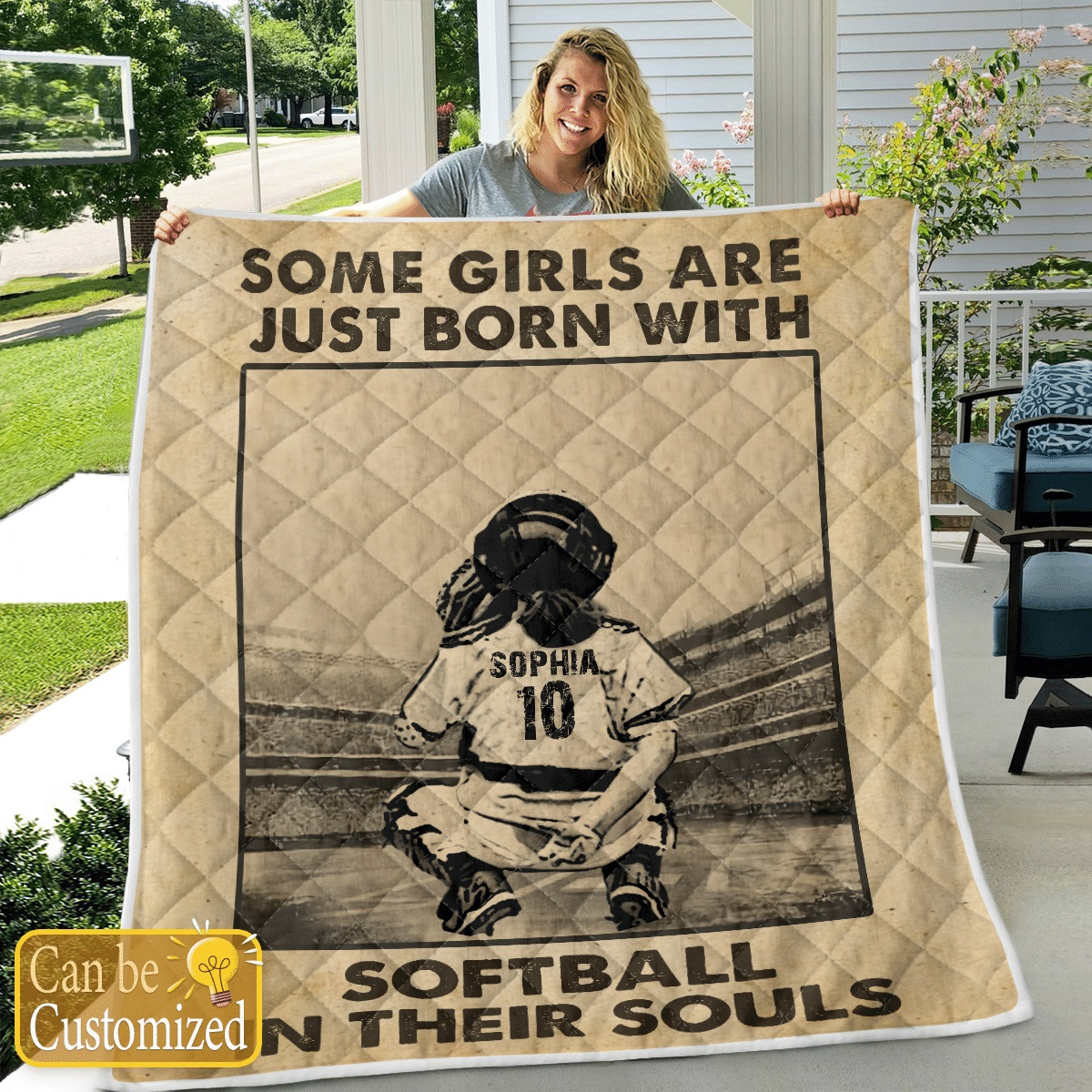 Some girls are just born with softball in their souls custom name and number quilt