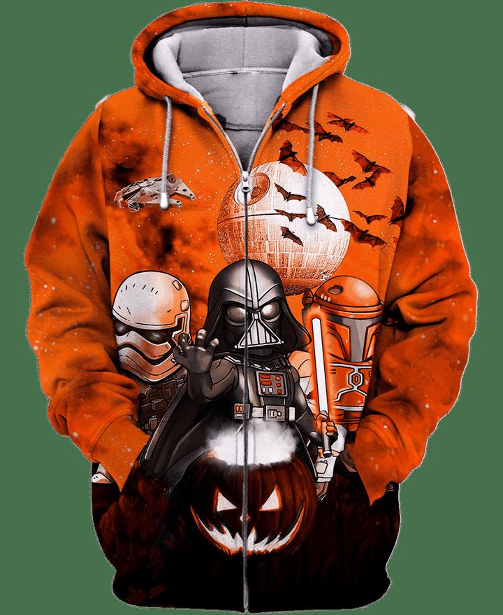 Star Wars Darth Vader Boba Fett Stormtrooper halloween night 3d zip hoodie