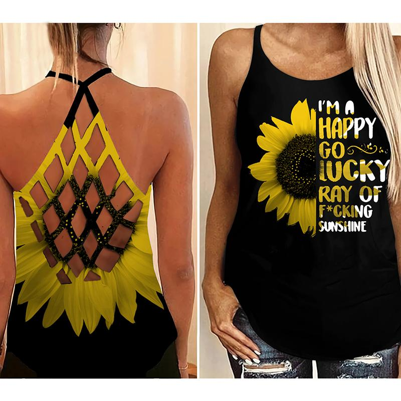 Sunflower I'm a happy go lucky ray of fucking sunshine criss cross open back tank top - Hothot 070921