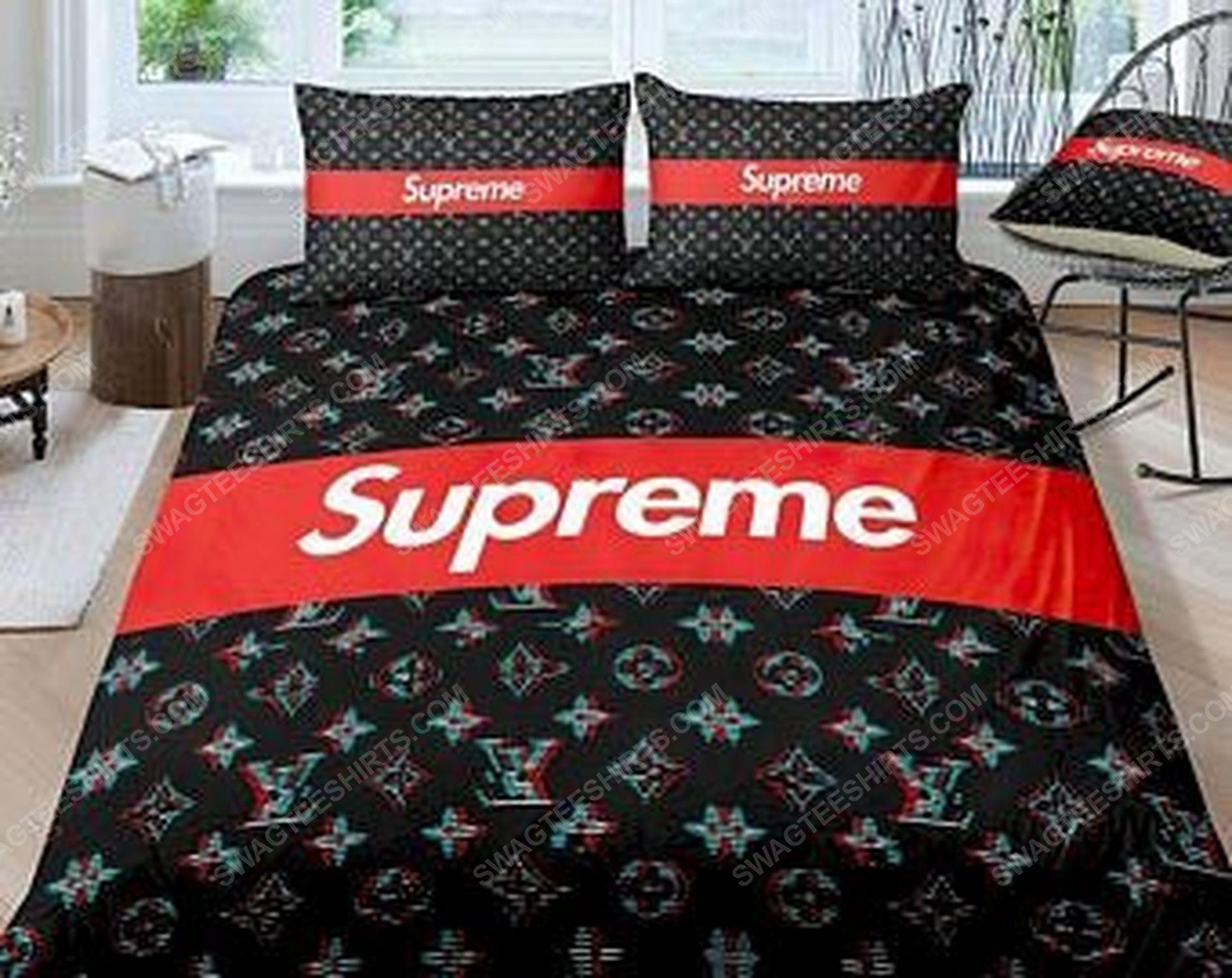 Supreme and lv full print duvet cover bedding set 1