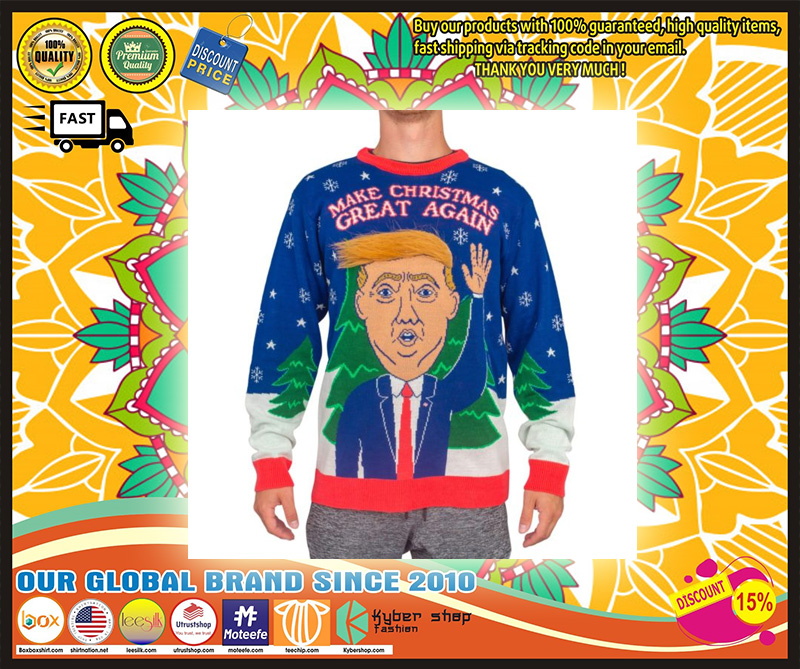 3D Trump Hair Make Christmas Great Again Ugly Sweater