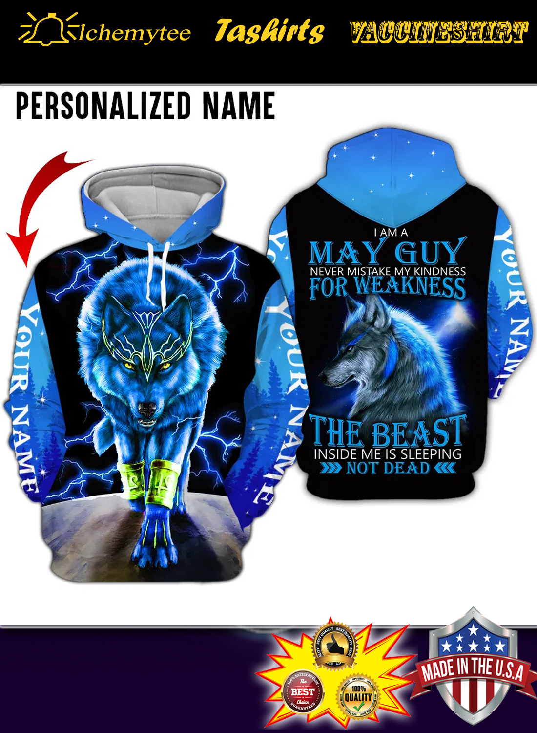 Personalized Name wolf spirit i am a may guy 3d all over printed hoodie