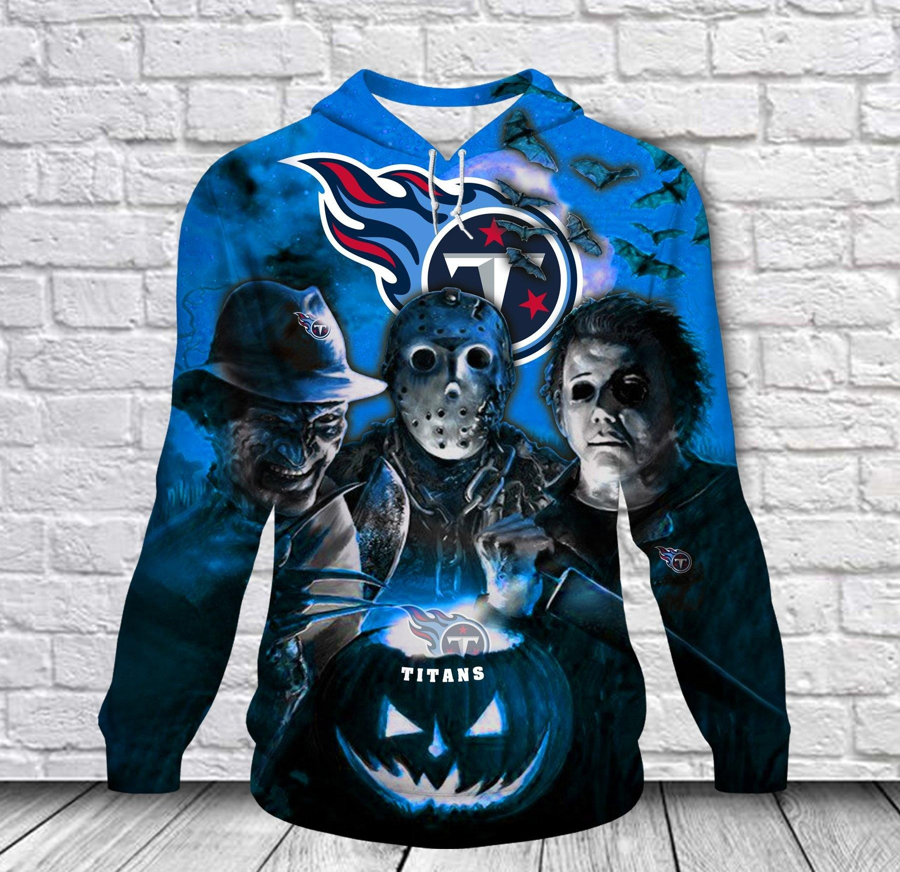 [Hot Trend] Tennessee Titans Halloween Horror Night 3D Pullover Hoodie - Hothot 050921