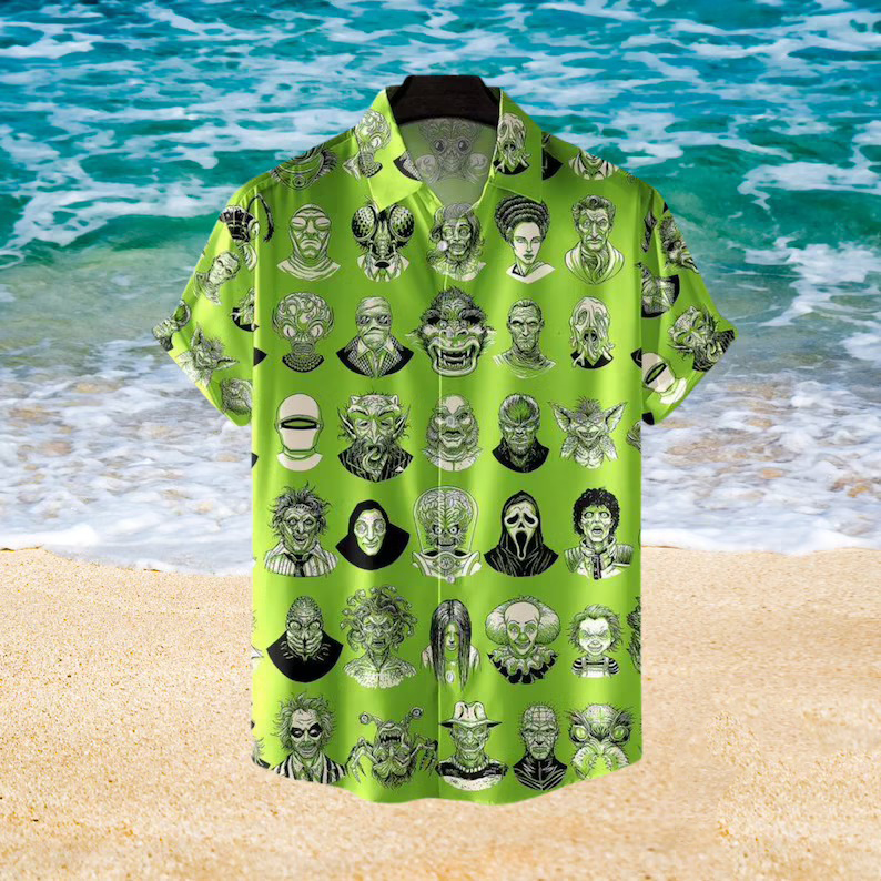 The Monsters Horror Character Face Hawaiian Aloha shirt