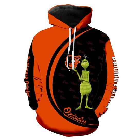 The grinch Baltimore orioles 3d all over print hoodie3
