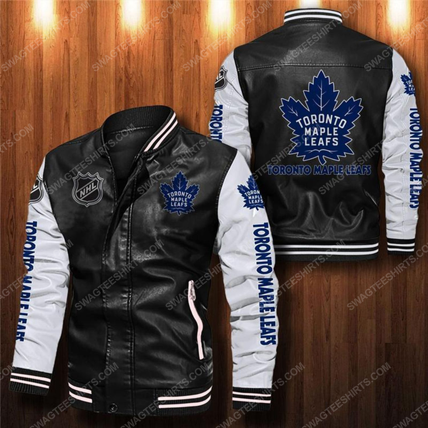 Toronto maple leafs all over print leather bomber jacket - white