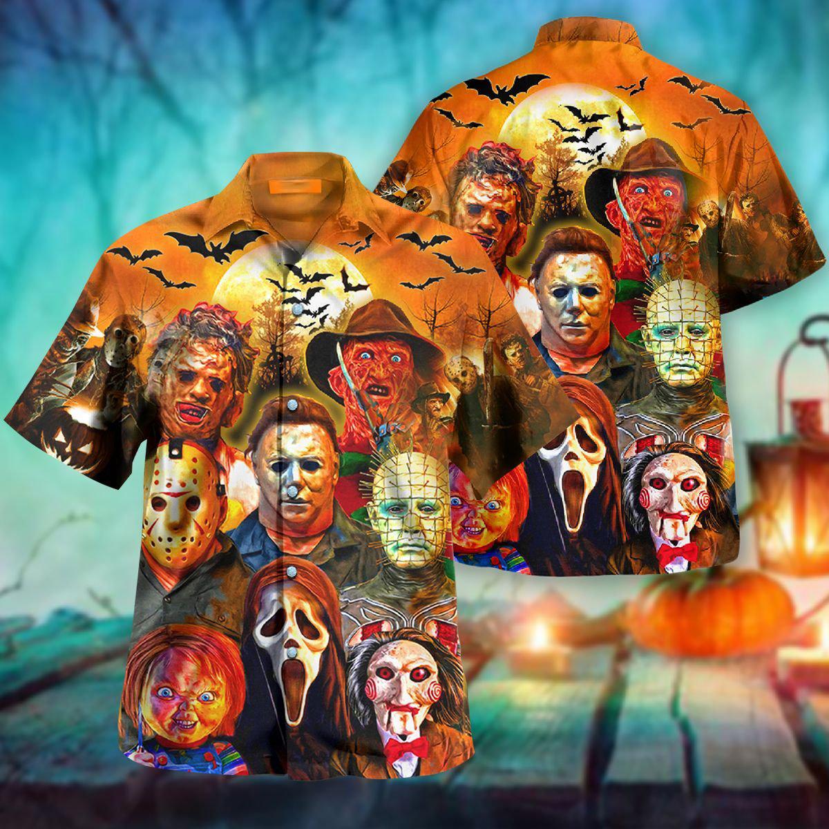 Trick or treats horror killers halloween hawaiian shirt