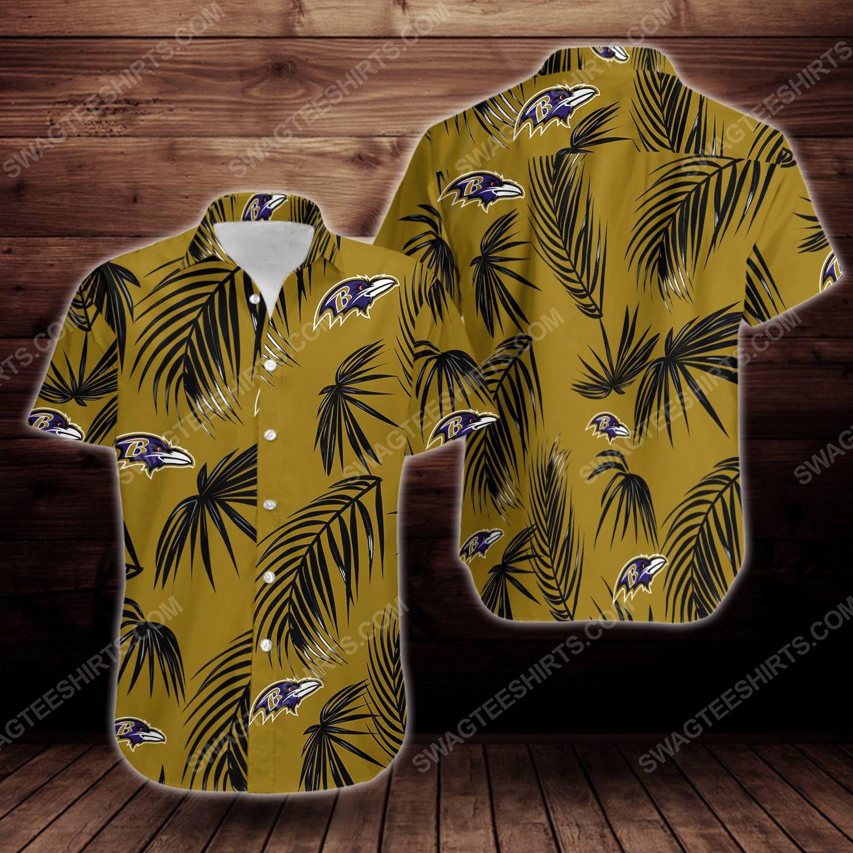 Tropical baltimore ravens short sleeve hawaiian shirt 1