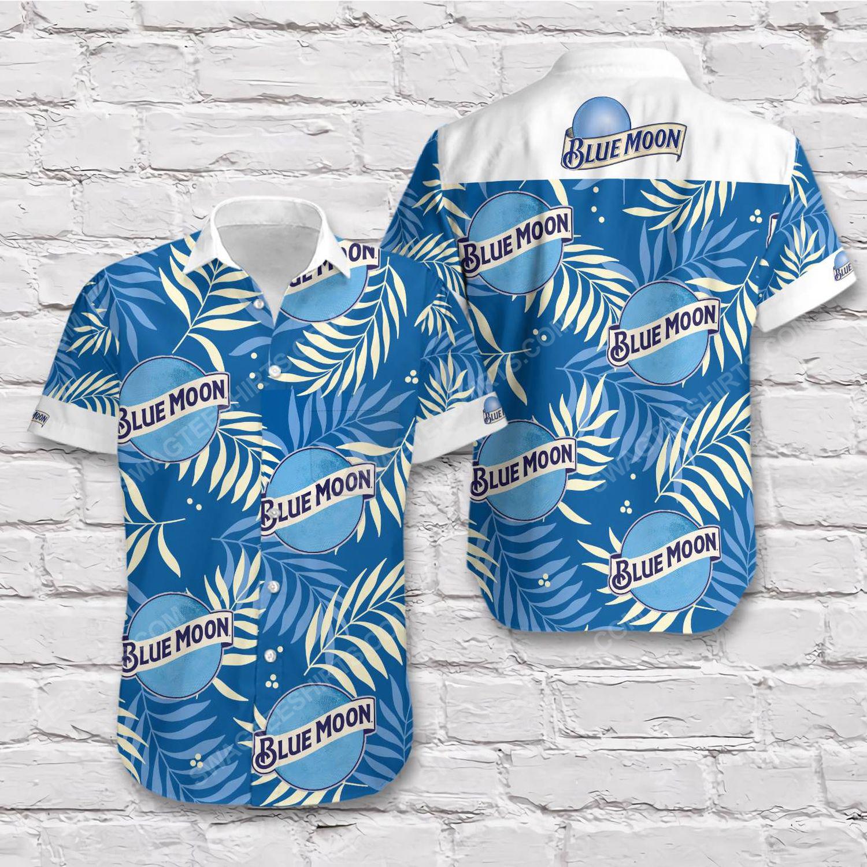 Tropical blue moon beer blue short sleeve hawaiian shirt 1