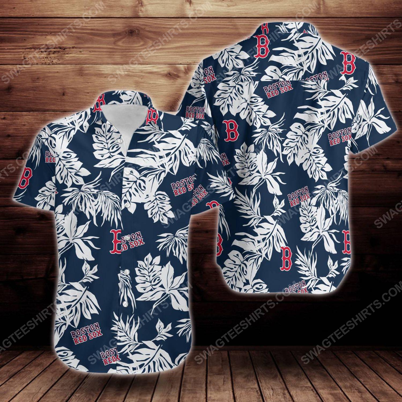 Tropical boston red sox short sleeve hawaiian shirt 1