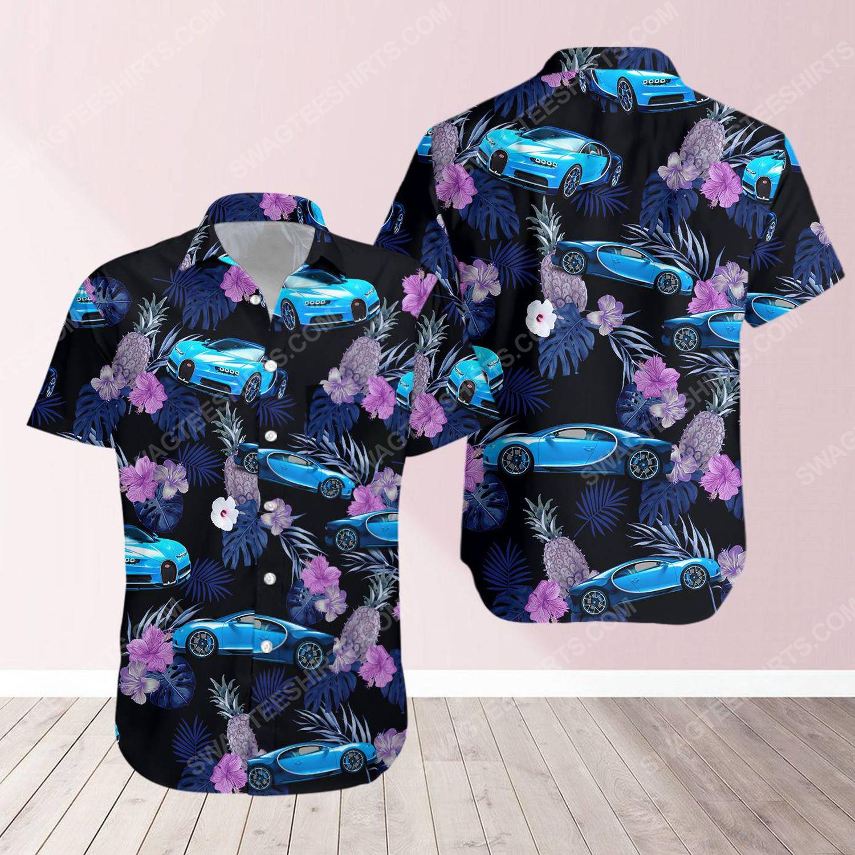 Tropical bugatti car short sleeve hawaiian shirt 1