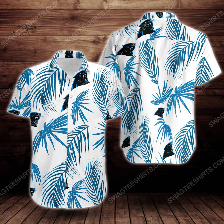 Tropical carolina panthers short sleeve hawaiian shirt 1