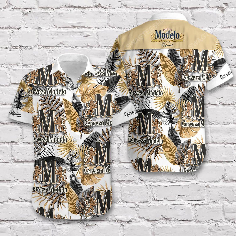 Tropical cerveza modelo beer short sleeve hawaiian shirt 1