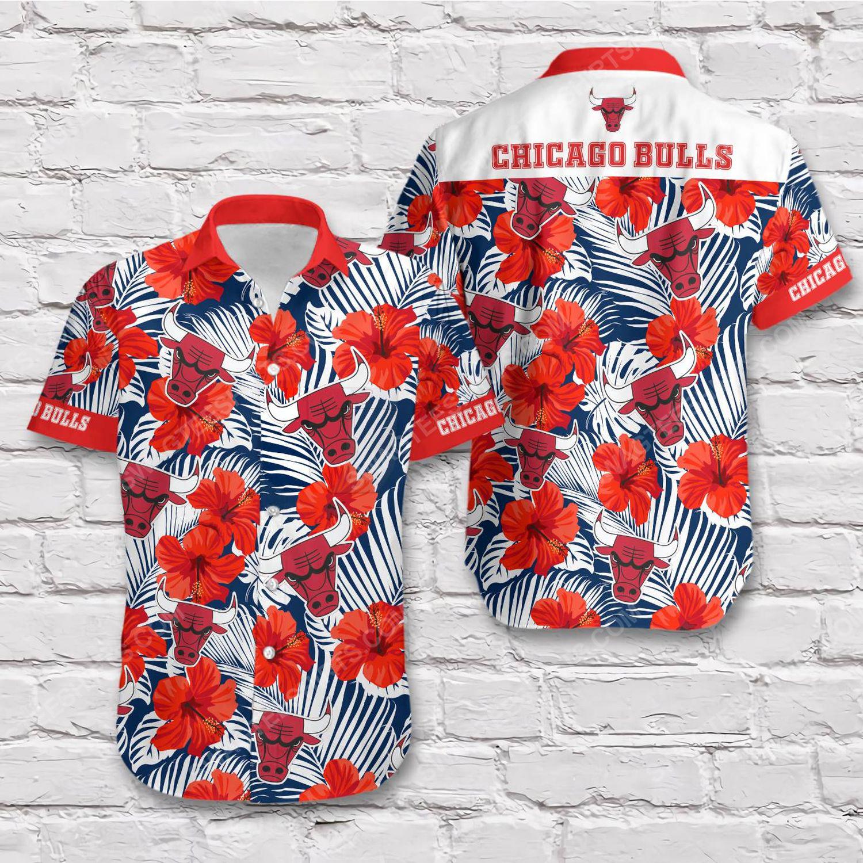 Tropical chicago bulls short sleeve hawaiian shirt 1