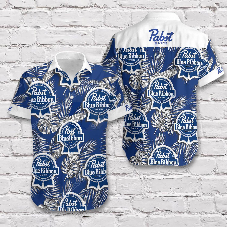 Tropical pabst blue ribbon beer short sleeve hawaiian shirt 1
