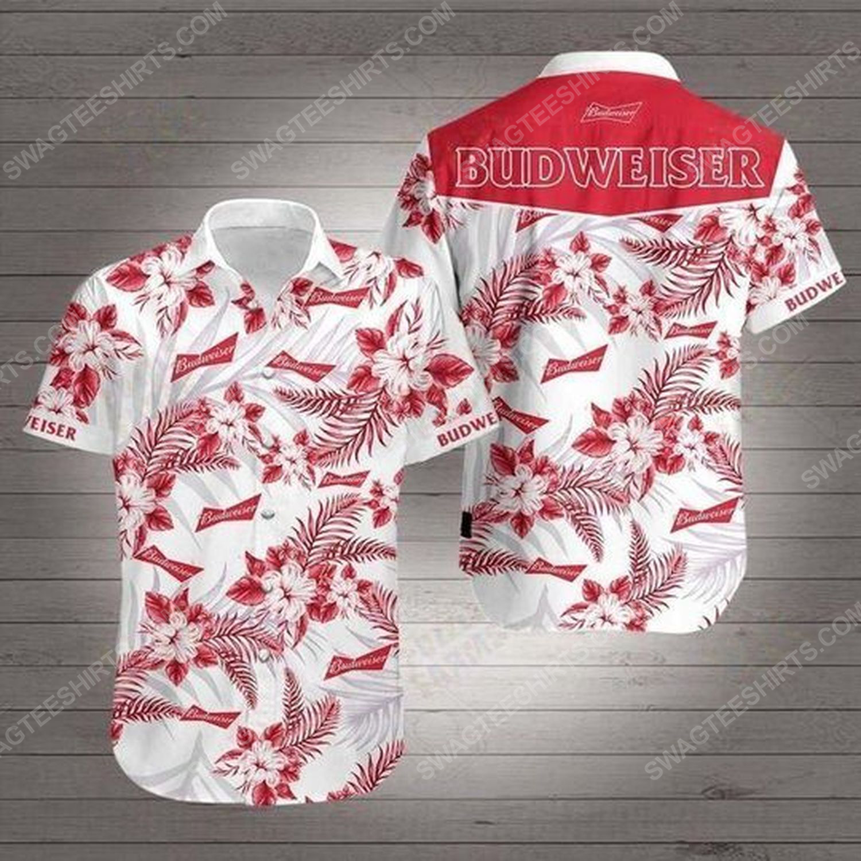 Tropical summer budweiser beer short sleeve hawaiian shirt 1