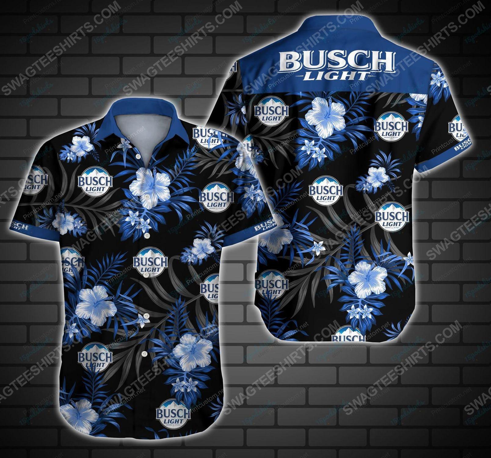 Tropical summer busch light beer short sleeve hawaiian shirt 1