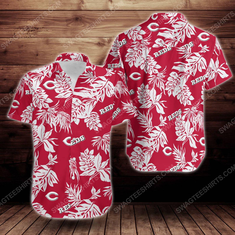 Tropical summer cincinnati reds short sleeve hawaiian shirt 1