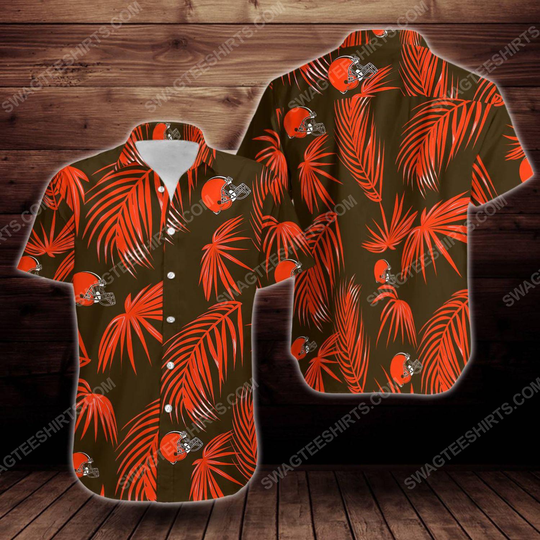 Tropical summer cleveland browns short sleeve hawaiian shirt 1