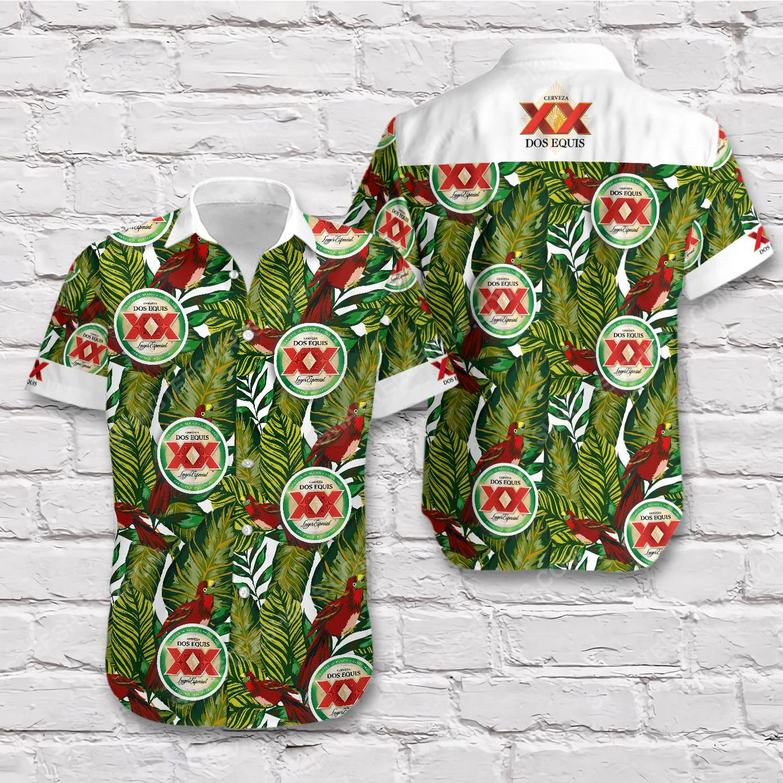 Tropical summer dos equis beer short sleeve hawaiian shirt 1