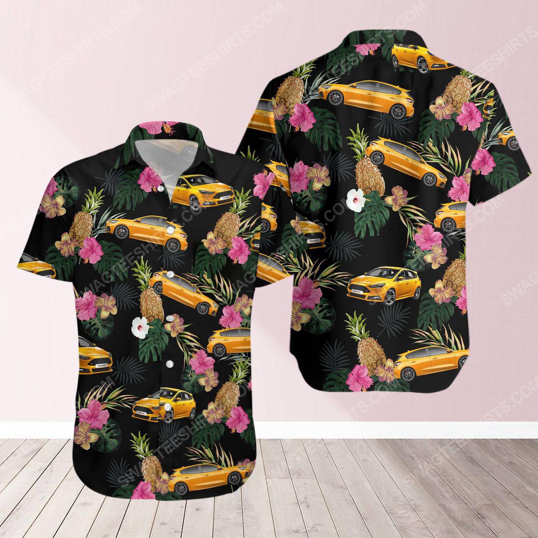 Tropical summer ford car short sleeve hawaiian shirt 1