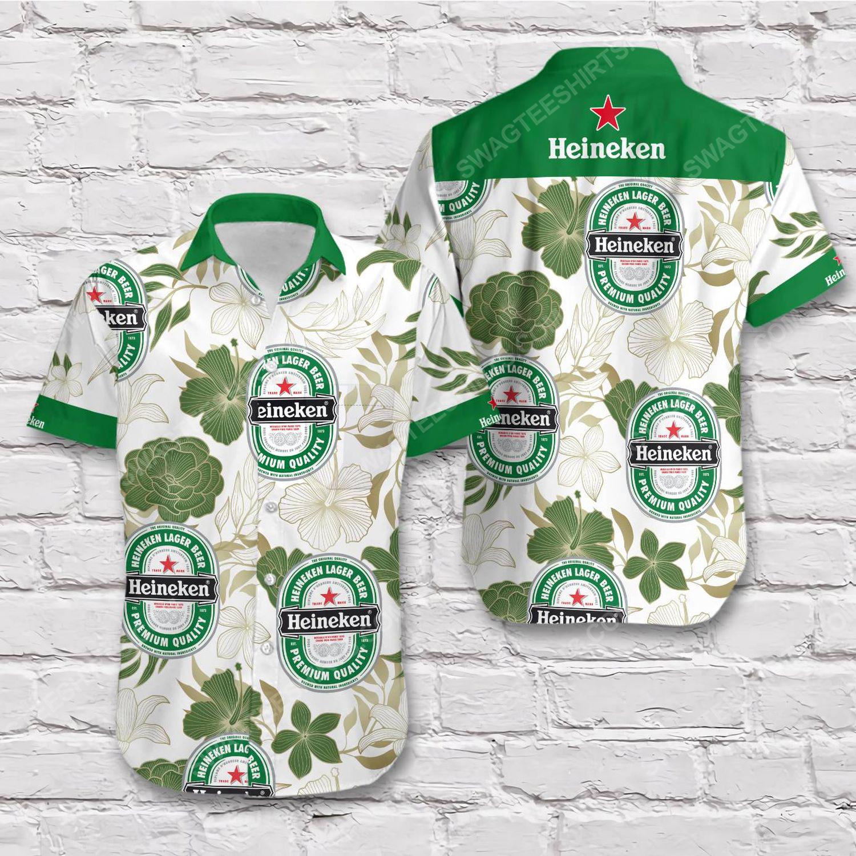 Tropical summer heineken beer short sleeve hawaiian shirt 1
