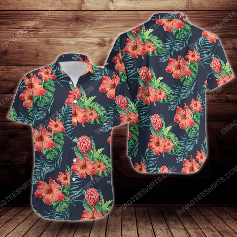 Tropical summer hibiscus flower short sleeve hawaiian shirt 1